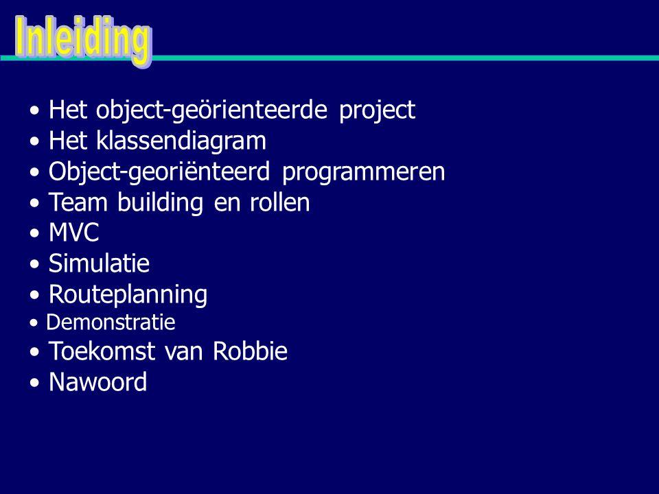 Het object-geörienteerde project Het klassendiagram Object-georiënteerd programmeren Team building en rollen MVC Simulatie Routeplanning Demonstratie Toekomst van Robbie Nawoord