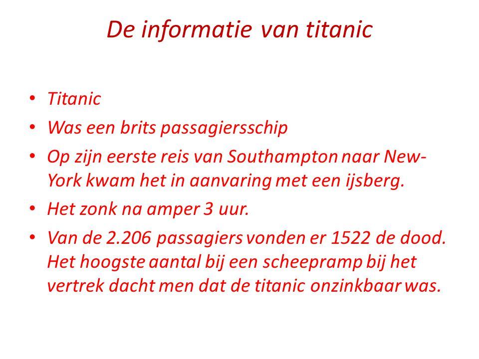 De informatie van titanic Titanic Was een brits passagiersschip Op zijn eerste reis van Southampton naar New- York kwam het in aanvaring met een ijsbe