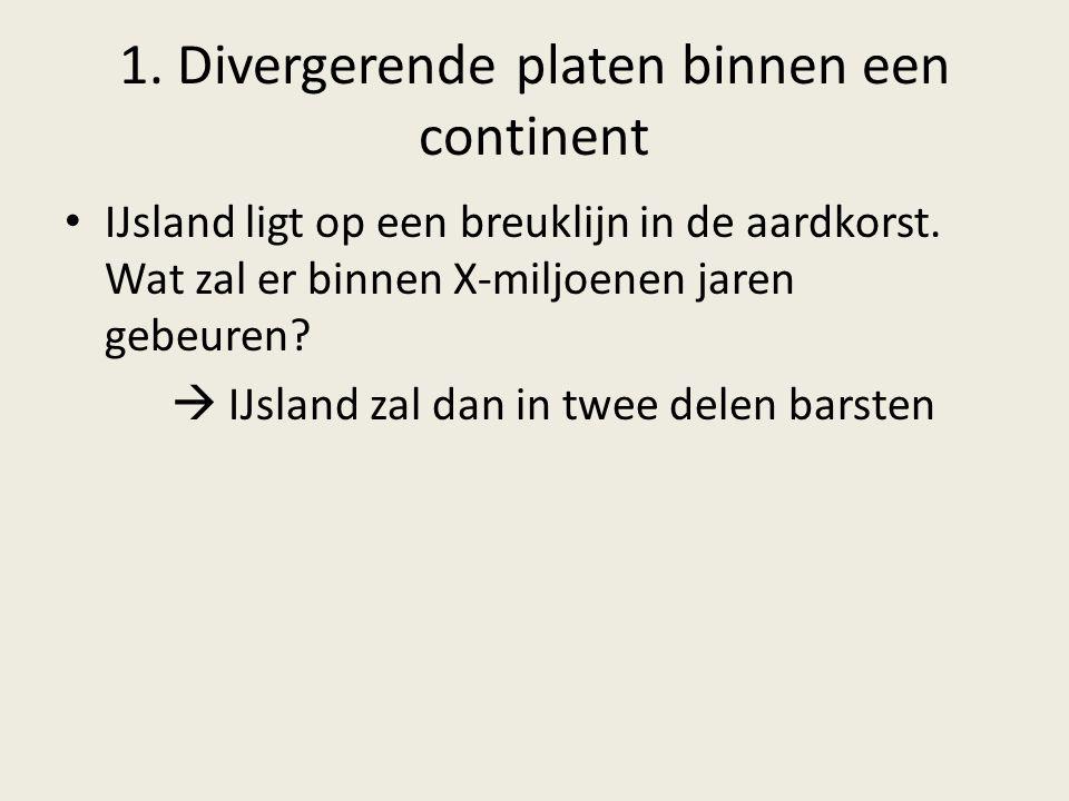 1. Divergerende platen binnen een continent IJsland ligt op een breuklijn in de aardkorst. Wat zal er binnen X-miljoenen jaren gebeuren?  IJsland zal