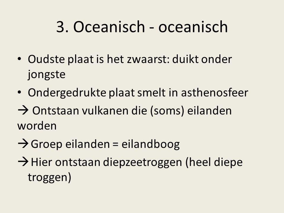 3. Oceanisch - oceanisch Oudste plaat is het zwaarst: duikt onder jongste Ondergedrukte plaat smelt in asthenosfeer  Ontstaan vulkanen die (soms) eil