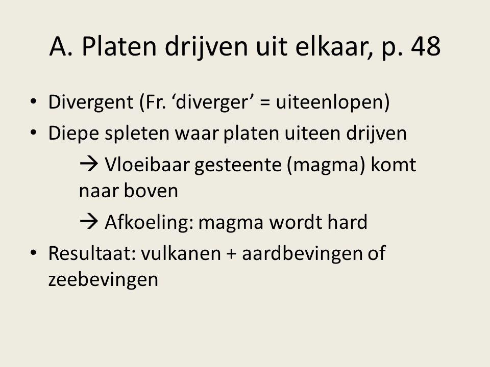 A. Platen drijven uit elkaar, p. 48 Divergent (Fr. 'diverger' = uiteenlopen) Diepe spleten waar platen uiteen drijven  Vloeibaar gesteente (magma) ko