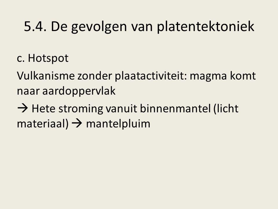 5.4. De gevolgen van platentektoniek c. Hotspot Vulkanisme zonder plaatactiviteit: magma komt naar aardoppervlak  Hete stroming vanuit binnenmantel (