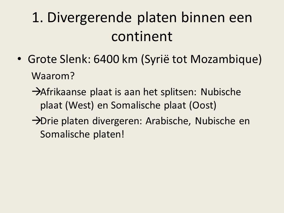1. Divergerende platen binnen een continent Grote Slenk: 6400 km (Syrië tot Mozambique) Waarom?  Afrikaanse plaat is aan het splitsen: Nubische plaat