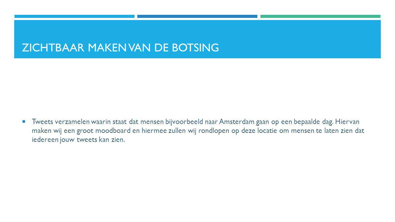 ZICHTBAAR MAKEN VAN DE BOTSING  Tweets verzamelen waarin staat dat mensen bijvoorbeeld naar Amsterdam gaan op een bepaalde dag. Hiervan maken wij een