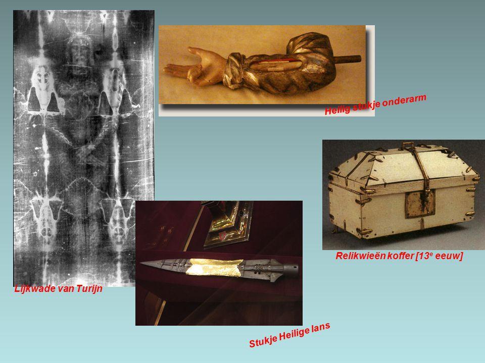 Relikwieën koffer [13 e eeuw] Heilig stukje onderarm Lijkwade van Turijn Stukje Heilige lans