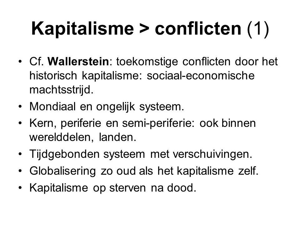 Kapitalisme > conflicten (1) Cf. Wallerstein: toekomstige conflicten door het historisch kapitalisme: sociaal-economische machtsstrijd. Mondiaal en on