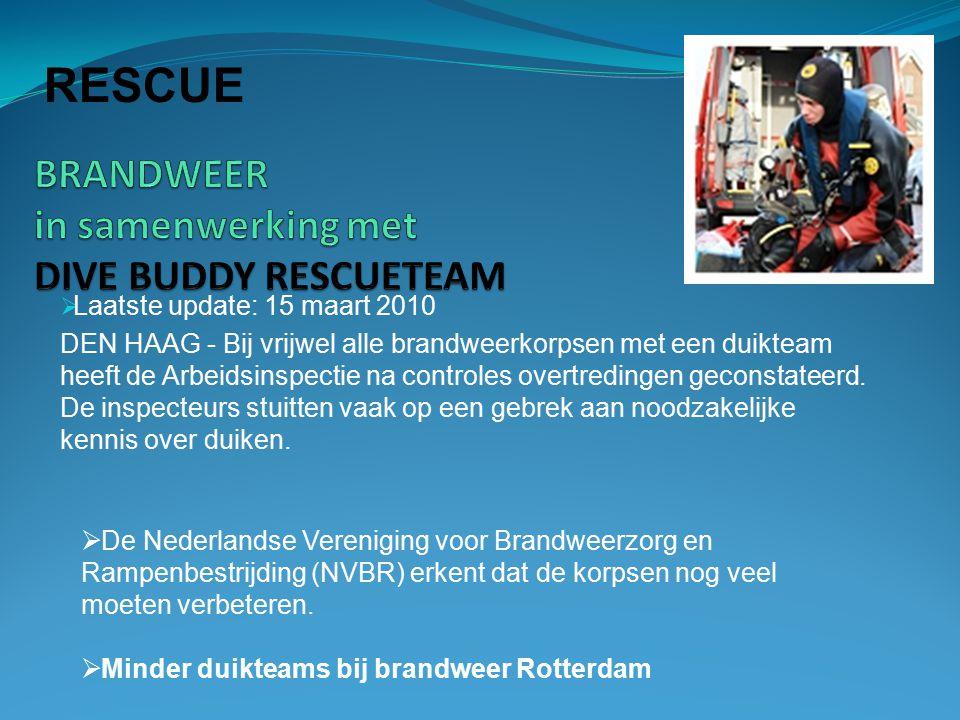  Laatste update: 15 maart 2010 DEN HAAG - Bij vrijwel alle brandweerkorpsen met een duikteam heeft de Arbeidsinspectie na controles overtredingen geconstateerd.