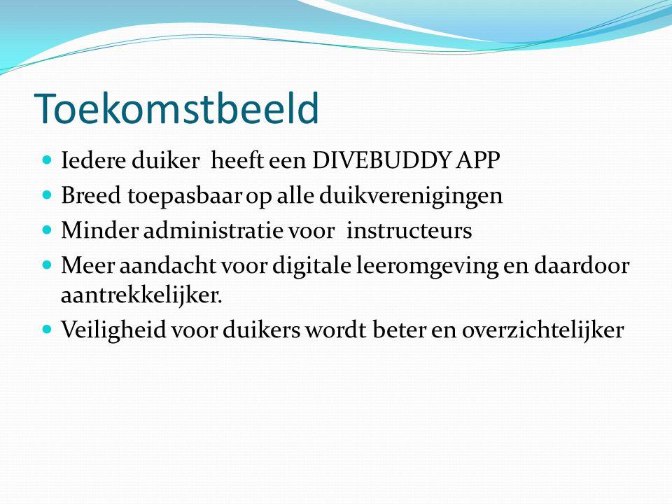 Toekomstbeeld Iedere duiker heeft een DIVEBUDDY APP Breed toepasbaar op alle duikverenigingen Minder administratie voor instructeurs Meer aandacht voor digitale leeromgeving en daardoor aantrekkelijker.