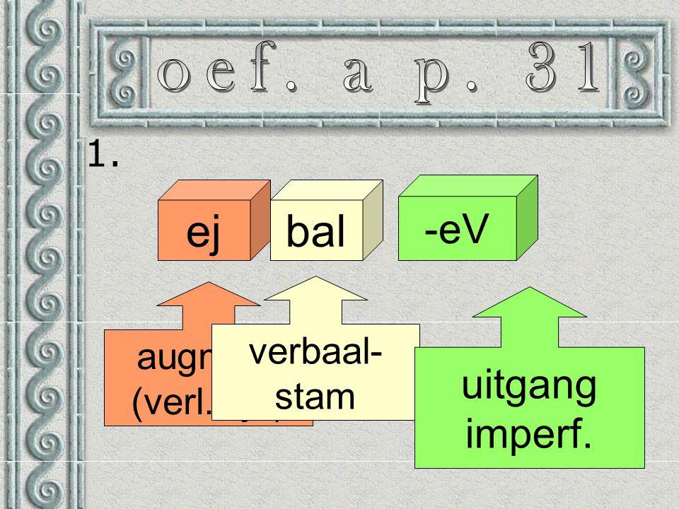 1. ejbal -eV augment (verl. tijd) verbaal- stam uitgang imperf.