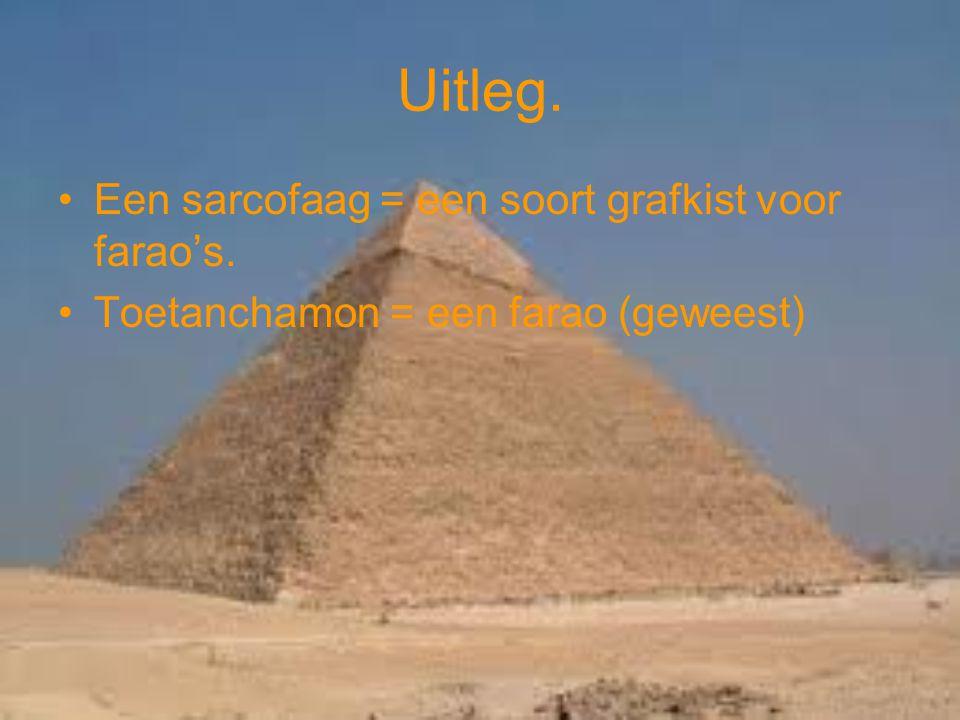 Uitleg. Een sarcofaag = een soort grafkist voor farao's. Toetanchamon = een farao (geweest)