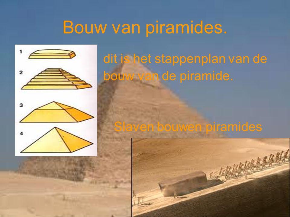 Bouw van piramides. dit is het stappenplan van de bouw van de piramide. Slaven bouwen piramides