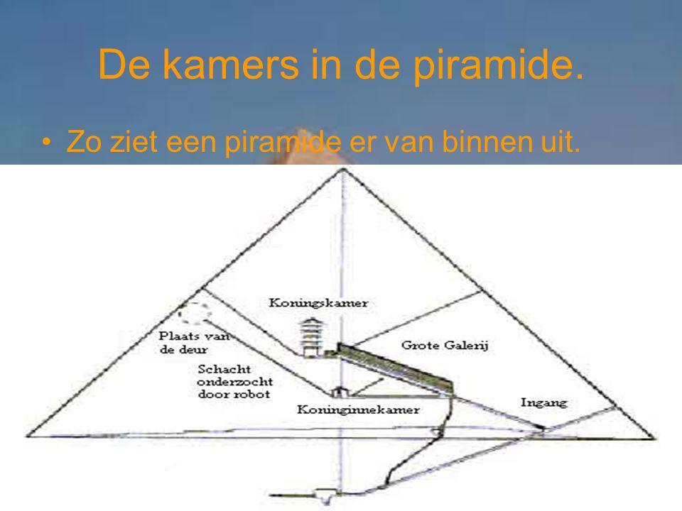 De kamers in de piramide. Zo ziet een piramide er van binnen uit.