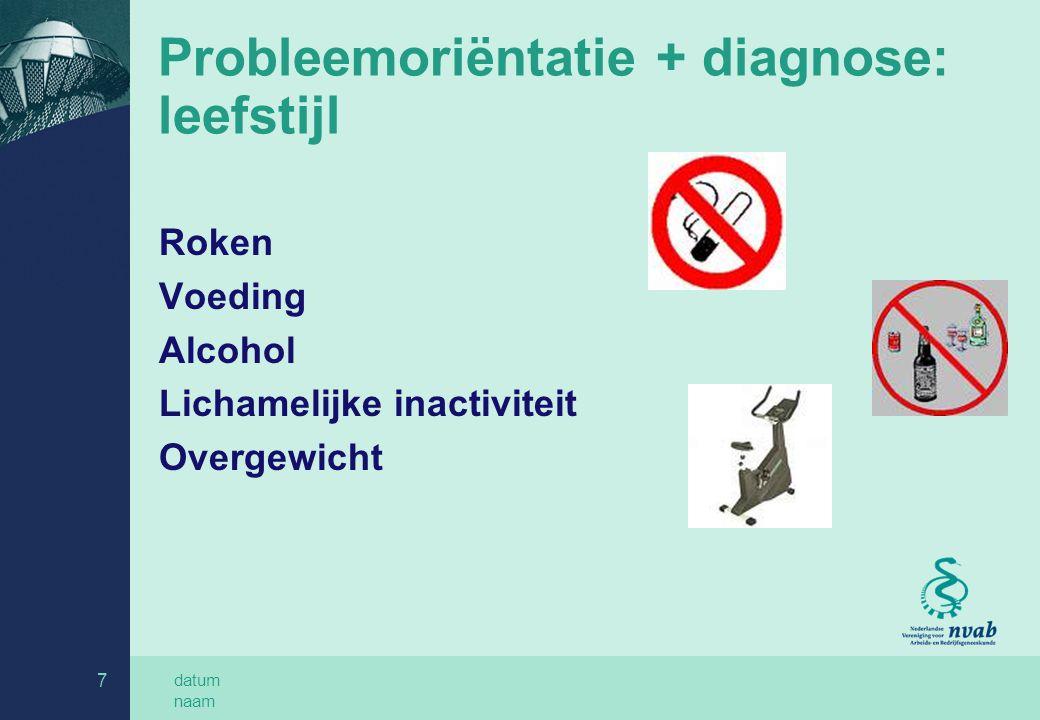 datum naam 8 Probleemoriëntatie + diagnose: belemmerende werkfactoren Herstelbelemmerende opvattingen werkgever Veiligheidsrisico's voor derden