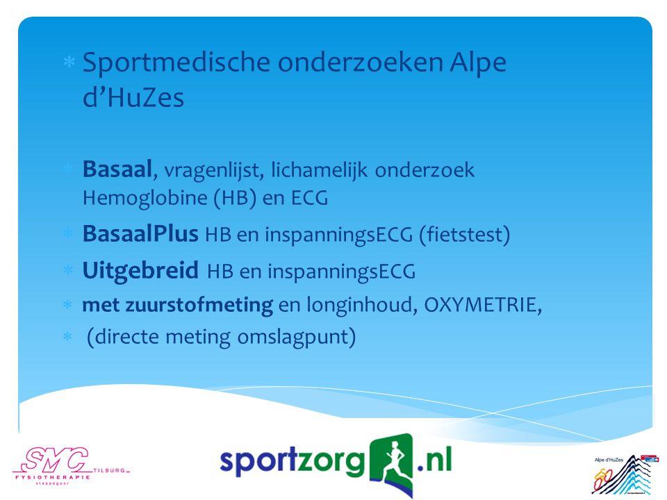  Sportmedische onderzoeken Alpe d'HuZes  Basaal, vragenlijst, lichamelijk onderzoek Hemoglobine (HB) en ECG  BasaalPlus HB en inspanningsECG (fietstest)  Uitgebreid HB en inspanningsECG  met zuurstofmeting en longinhoud, OXYMETRIE,  (directe meting omslagpunt)
