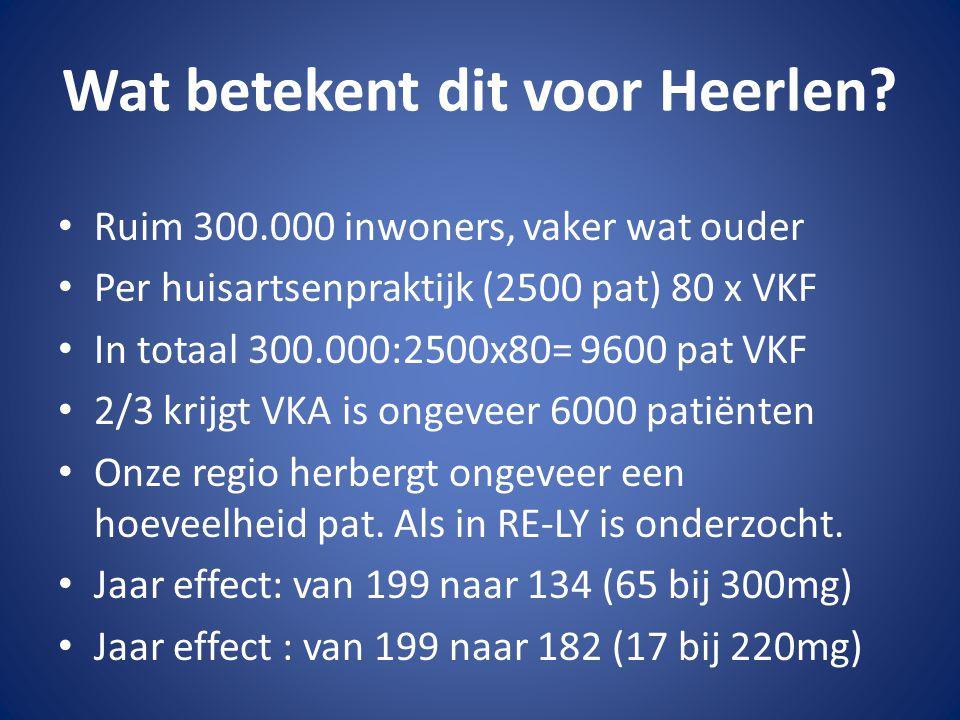 Wat betekent dit voor Heerlen? Ruim 300.000 inwoners, vaker wat ouder Per huisartsenpraktijk (2500 pat) 80 x VKF In totaal 300.000:2500x80= 9600 pat V