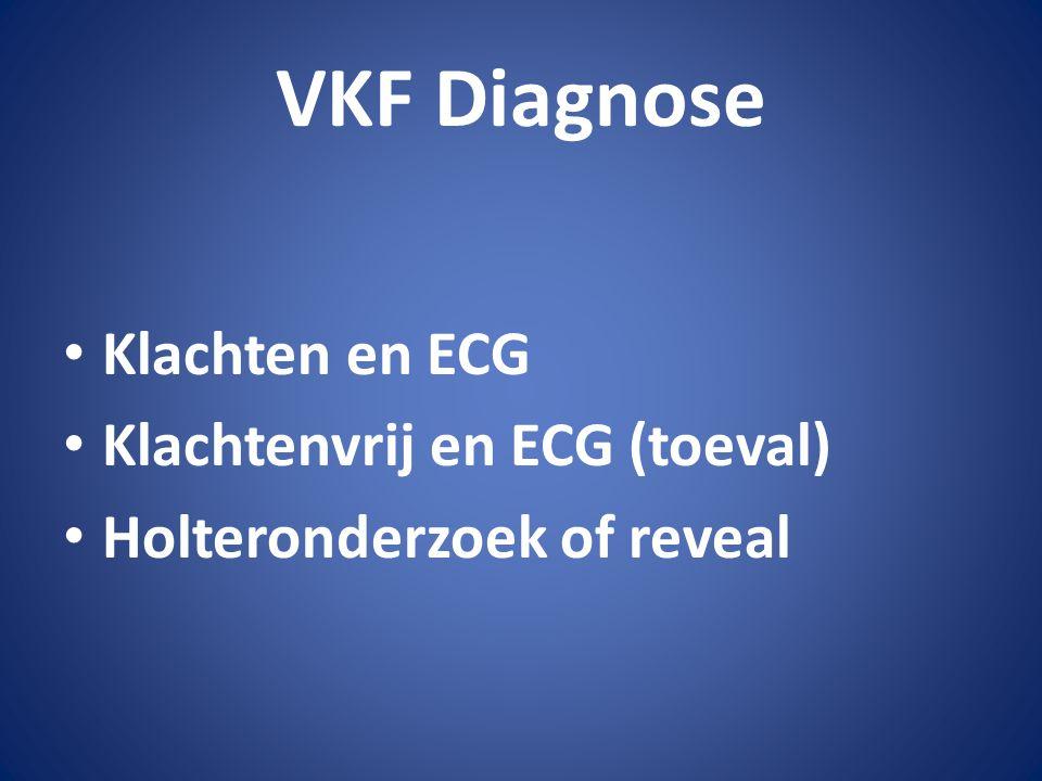 VKF Diagnose Klachten en ECG Klachtenvrij en ECG (toeval) Holteronderzoek of reveal