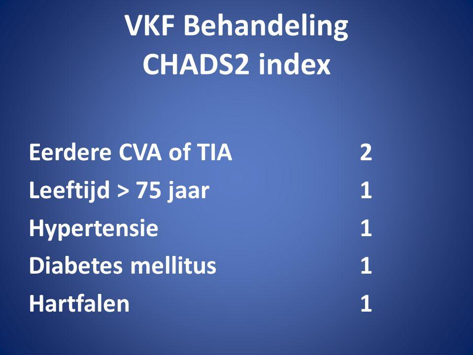 VKF Behandeling CHADS2 index Eerdere CVA of TIA2 Leeftijd > 75 jaar1 Hypertensie1 Diabetes mellitus1 Hartfalen1