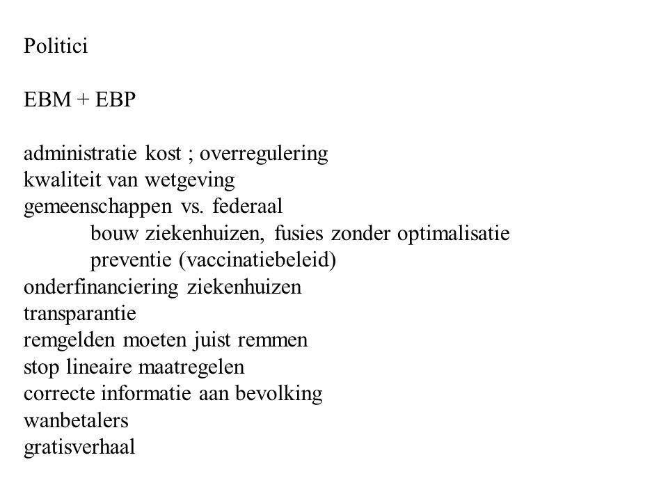 Politici EBM + EBP administratie kost ; overregulering kwaliteit van wetgeving gemeenschappen vs.