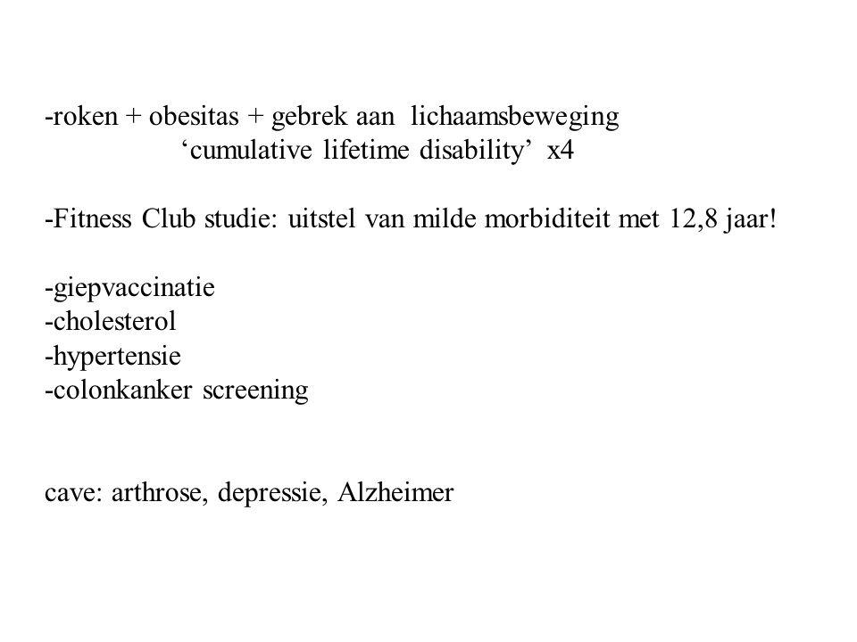-roken + obesitas + gebrek aan lichaamsbeweging 'cumulative lifetime disability' x4 -Fitness Club studie: uitstel van milde morbiditeit met 12,8 jaar.