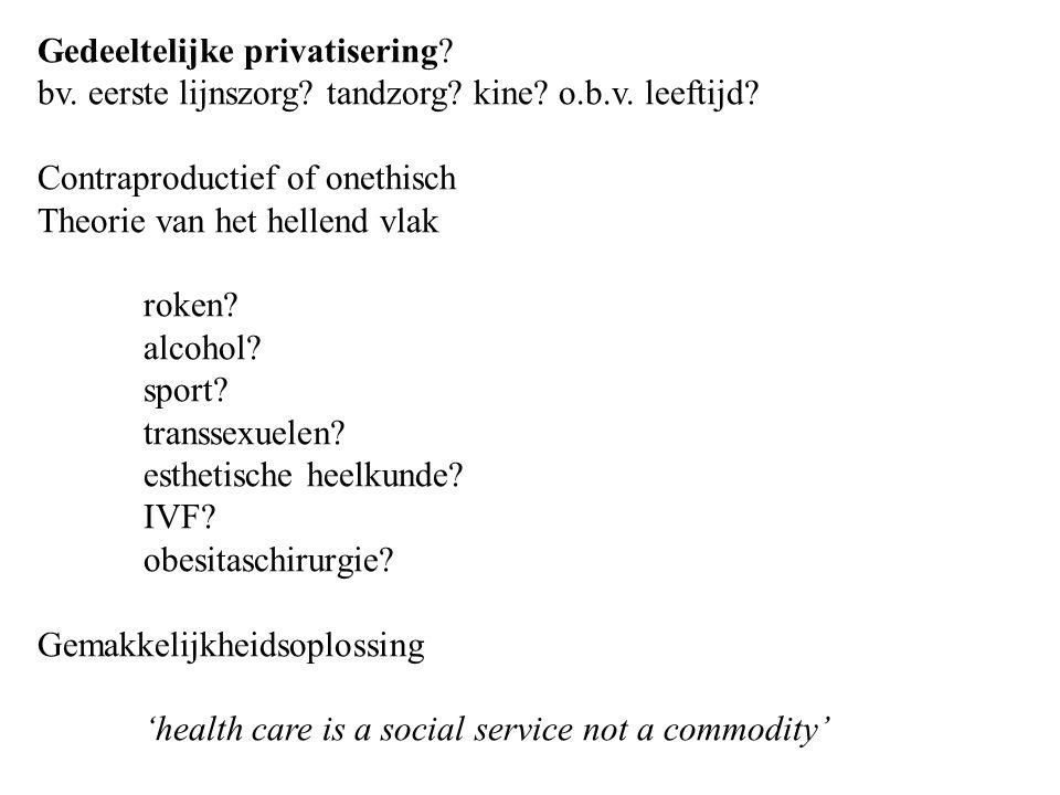 Gedeeltelijke privatisering. bv. eerste lijnszorg.
