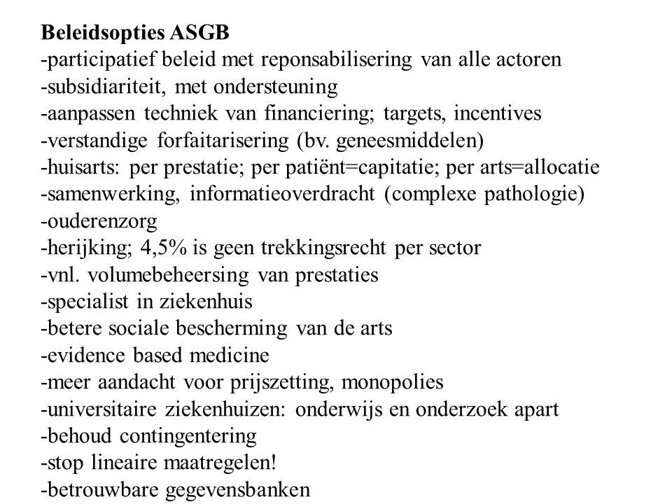 Beleidsopties ASGB -participatief beleid met reponsabilisering van alle actoren -subsidiariteit, met ondersteuning -aanpassen techniek van financiering; targets, incentives -verstandige forfaitarisering (bv.
