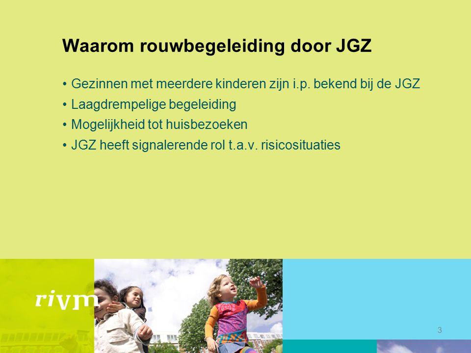 Waarom rouwbegeleiding door JGZ Gezinnen met meerdere kinderen zijn i.p. bekend bij de JGZ Laagdrempelige begeleiding Mogelijkheid tot huisbezoeken JG