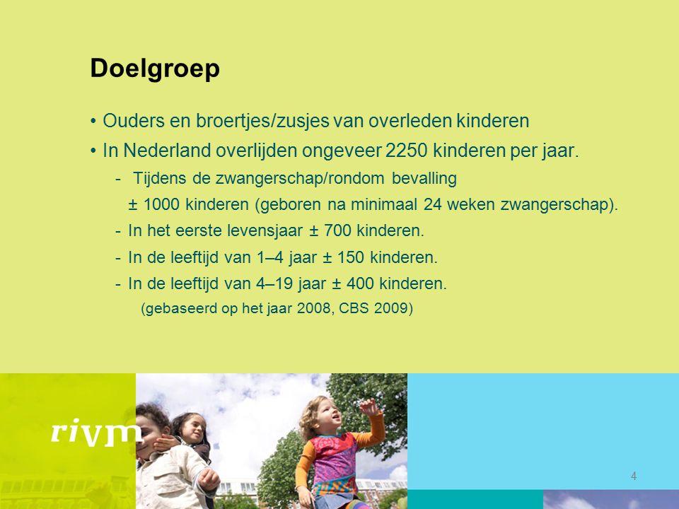 Doelgroep Ouders en broertjes/zusjes van overleden kinderen In Nederland overlijden ongeveer 2250 kinderen per jaar. - Tijdens de zwangerschap/rondom