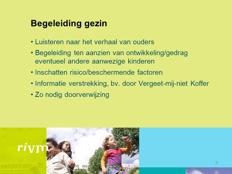 Begeleiding gezin Luisteren naar het verhaal van ouders Begeleiding ten aanzien van ontwikkeling/gedrag eventueel andere aanwezige kinderen Inschatten