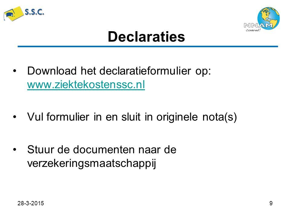 Download het declaratieformulier op: www.ziektekostenssc.nl www.ziektekostenssc.nl Vul formulier in en sluit in originele nota(s) Stuur de documenten naar de verzekeringsmaatschappij Declaraties 28-3-20159