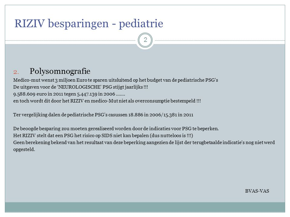 RIZIV besparingen - pediatrie 2 2.