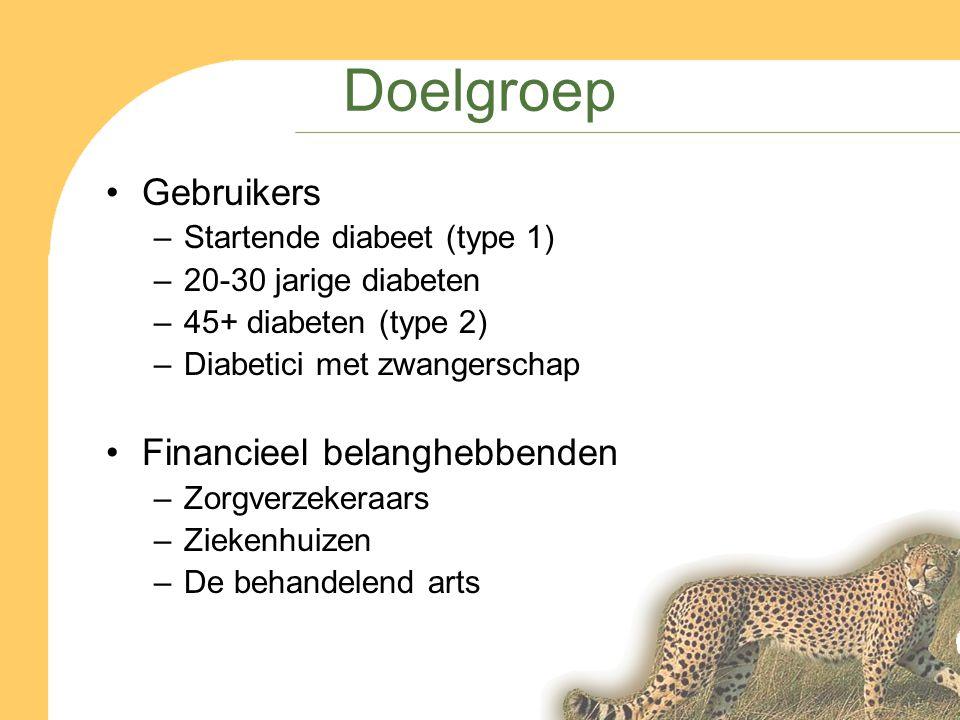 Doelgroep Gebruikers –Startende diabeet (type 1) –20-30 jarige diabeten –45+ diabeten (type 2) –Diabetici met zwangerschap Financieel belanghebbenden –Zorgverzekeraars –Ziekenhuizen –De behandelend arts