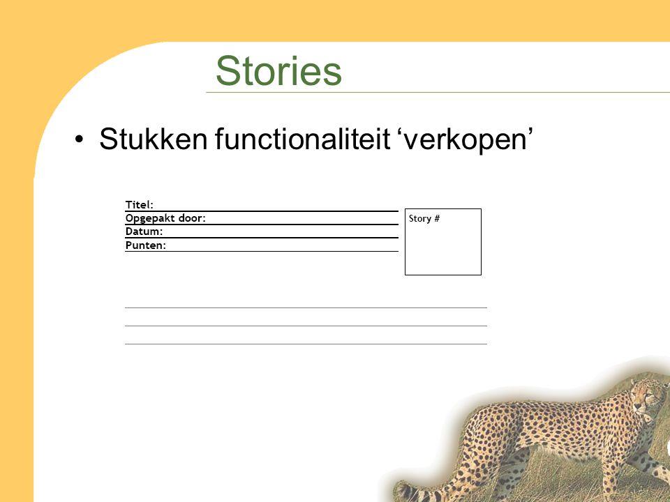Stories Stukken functionaliteit 'verkopen'