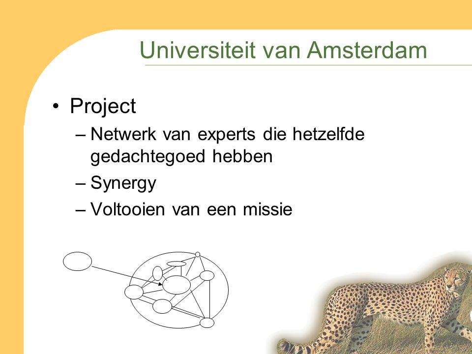 Universiteit van Amsterdam Project –Netwerk van experts die hetzelfde gedachtegoed hebben –Synergy –Voltooien van een missie