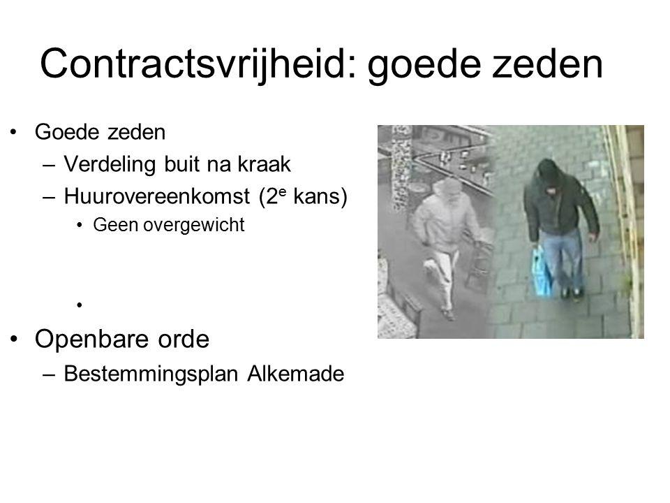 Contractsvrijheid: goede zeden Goede zeden –Verdeling buit na kraak –Huurovereenkomst (2 e kans) Geen overgewicht Openbare orde –Bestemmingsplan Alkem