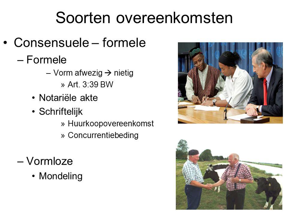 Soorten overeenkomsten Consensuele – formele –Formele –Vorm afwezig  nietig »Art. 3:39 BW Notariële akte Schriftelijk »Huurkoopovereenkomst »Concurre