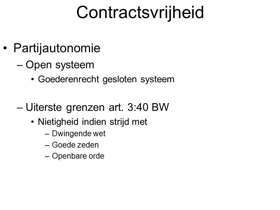 Contractsvrijheid Partijautonomie –Open systeem Goederenrecht gesloten systeem –Uiterste grenzen art. 3:40 BW Nietigheid indien strijd met –Dwingende