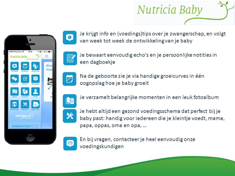 Je krijgt info en (voedings)tips over je zwangerschap, en volgt van week tot week de ontwikkeling van je baby Je bewaart eenvoudig echo's en je persoo