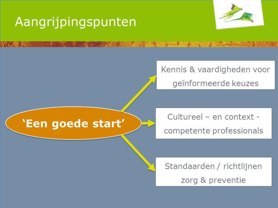 Aangrijpingspunten 'Een goede start' Kennis & vaardigheden voor geïnformeerde keuzes Cultureel – en context - competente professionals Standaarden / richtlijnen zorg & preventie