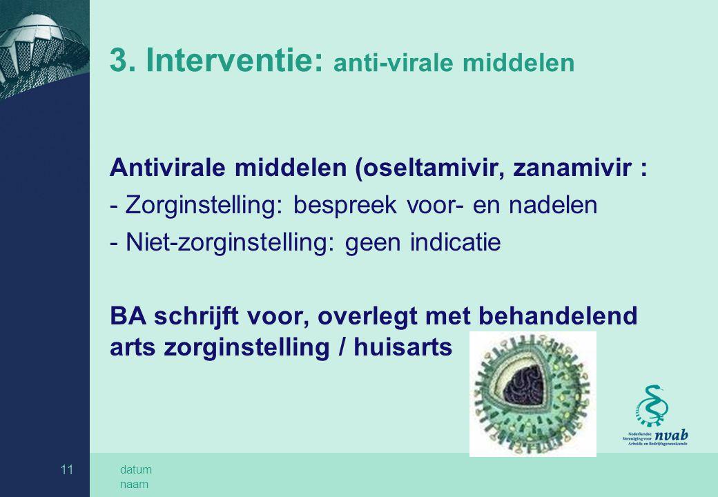 datum naam 11 3. Interventie: anti-virale middelen Antivirale middelen (oseltamivir, zanamivir : - Zorginstelling: bespreek voor- en nadelen - Niet-zo
