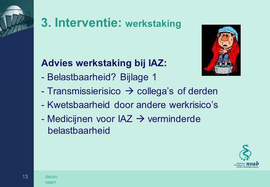 datum naam 13 3. Interventie: werkstaking Advies werkstaking bij IAZ: - Belastbaarheid? Bijlage 1 - Transmissierisico  collega's of derden - Kwetsbaa