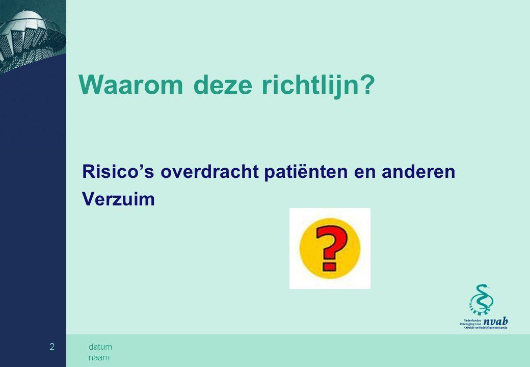 datum naam 2 Waarom deze richtlijn? Risico's overdracht patiënten en anderen Verzuim