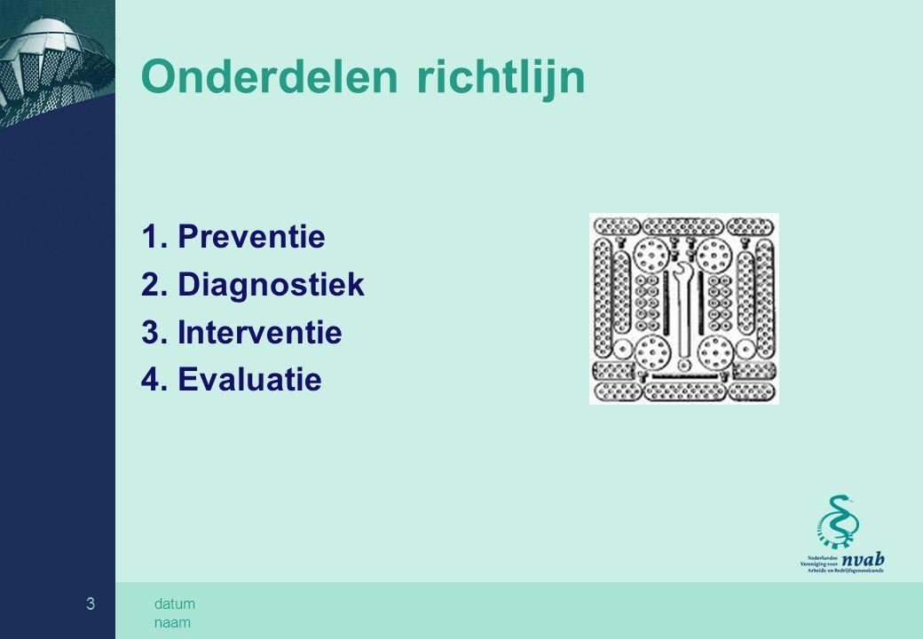 datum naam 3 Onderdelen richtlijn 1. Preventie 2. Diagnostiek 3. Interventie 4. Evaluatie