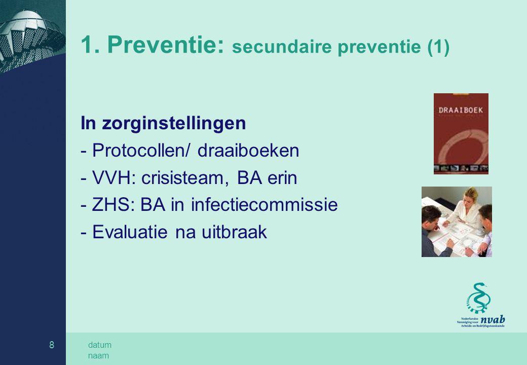 datum naam 8 1. Preventie: secundaire preventie (1) In zorginstellingen - Protocollen/ draaiboeken - VVH: crisisteam, BA erin - ZHS: BA in infectiecom