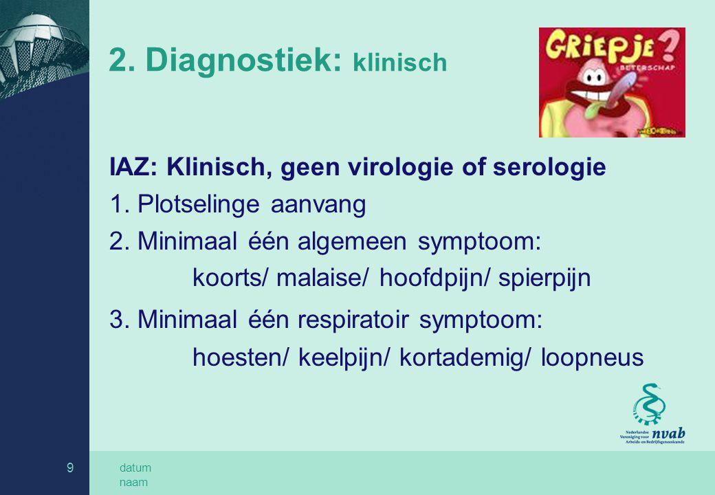 datum naam 9 2. Diagnostiek: klinisch IAZ: Klinisch, geen virologie of serologie 1. Plotselinge aanvang 2. Minimaal één algemeen symptoom: koorts/ mal