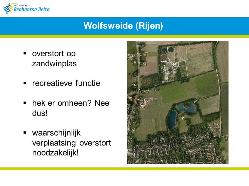 Wolfsweide (Rijen)  overstort op zandwinplas  recreatieve functie  hek er omheen.