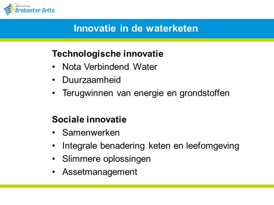 Innovatie in de waterketen Technologische innovatie Nota Verbindend Water Duurzaamheid Terugwinnen van energie en grondstoffen Sociale innovatie Samenwerken Integrale benadering keten en leefomgeving Slimmere oplossingen Assetmanagement