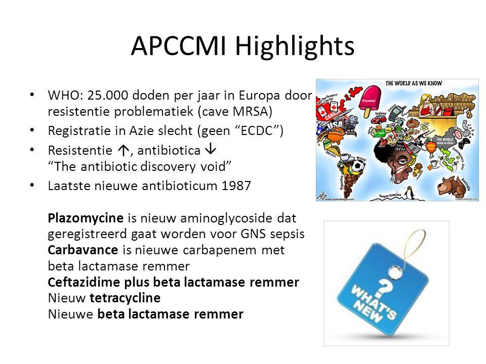 APCCMI Highlights WHO: 25.000 doden per jaar in Europa door resistentie problematiek (cave MRSA) Registratie in Azie slecht (geen ECDC ) Resistentie , antibiotica  The antibiotic discovery void Laatste nieuwe antibioticum 1987 Plazomycine is nieuw aminoglycoside dat geregistreerd gaat worden voor GNS sepsis Carbavance is nieuwe carbapenem met beta lactamase remmer Ceftazidime plus beta lactamase remmer Nieuw tetracycline Nieuwe beta lactamase remmer
