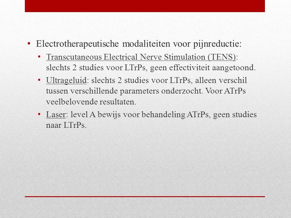Electrotherapeutische modaliteiten voor pijnreductie: Transcutaneous Electrical Nerve Stimulation (TENS): slechts 2 studies voor LTrPs, geen effectivi