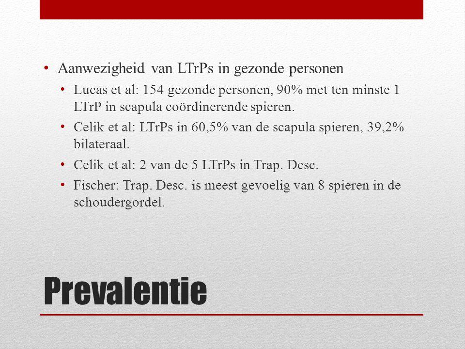 Prevalentie Aanwezigheid van LTrPs in gezonde personen Lucas et al: 154 gezonde personen, 90% met ten minste 1 LTrP in scapula coördinerende spieren.
