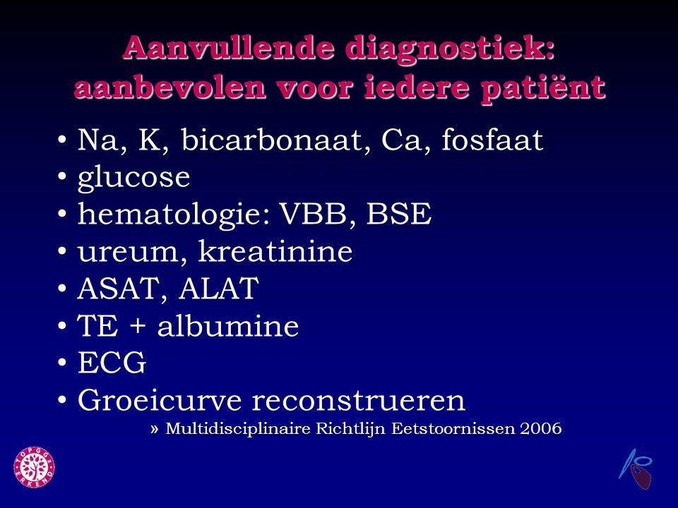 Aanvullende diagnostiek: aanbevolen voor iedere patiënt Na, K, bicarbonaat, Ca, fosfaat glucose hematologie: VBB, BSE ureum, kreatinine ASAT, ALAT TE
